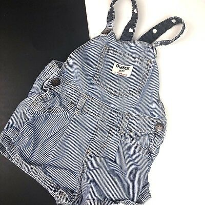 Oshkosh B'Gosh Toddler Girl's 2T Blue Stripe Polka Dot Overall Shorts Vestbak