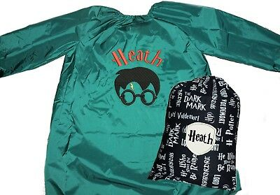 Kids Personalised Art Smock  / Paint Shirt and Library Bag set - Harry Potter