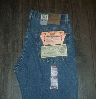 VTG Deadstock 90s Levi's 501 SIZE 38x30 Medium Wash Made in USA NOS