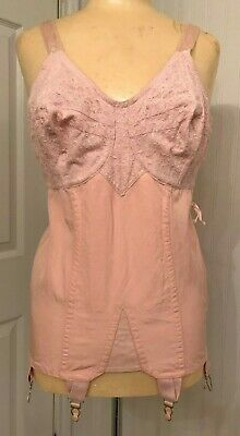 Vintage 1940s/40s Pink Cotton Rayon Corset Bra with Garters