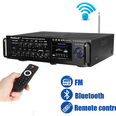 2000W Bluetooth Stereo Amplifier HIFI Tuner Remote Control USB SD Mic Input Home