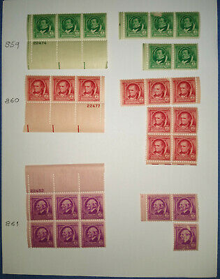 Famous Americans US Stamps Scott #859-933 Many Plate Blocks NH Mint