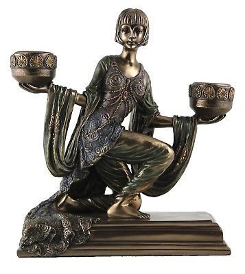Veronese Bronze Figurine Art Deco Lady Holding Candle holder Reproduction Statue
