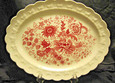 """Taylor Smith USA Red Transfer Ware 13 1/2"""" Platter"""