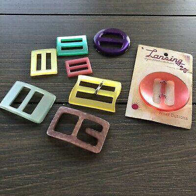 Assorted Vintage Early Plastic Belt Buckles Moonglow Retro Mid Century Modern