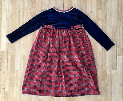 Youngland Girls Long Sleeve Navy Velvet Red Plaid Holiday Dress Skirt 6X