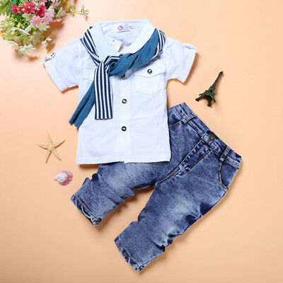 baby toddler Kids boys summer outfits cotton top shirt+jeans outfits