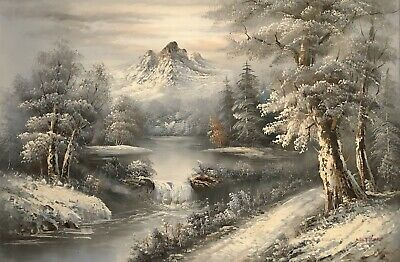 VTG 36x24 Winter Mountain Forest Scene Bob Ross Style Painting River Snow River