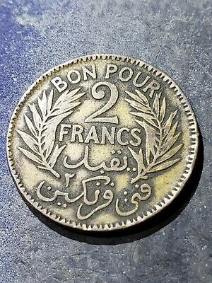 TUNISIA 1921 2 Franc Coin ****YOU GRADE****
