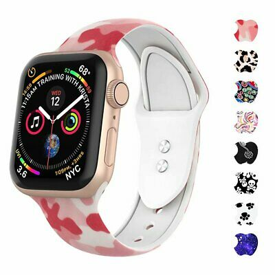 For Apple iWatch Band Series5 4 3 2 1 Silicone Print Strap Replacement Wristband