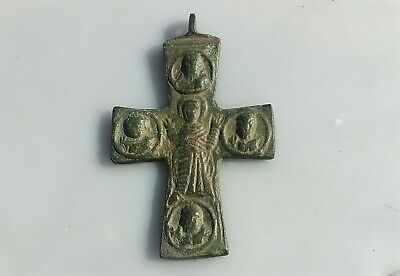 Medieval Bronze Cross Pendant with Inscriptions.BIG.10th-12th C. AD.