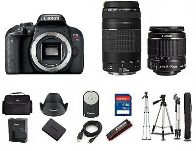 Canon T7i EOS Rebel DSLR Camera EF-S 18-55mm IS and 75-300mm Lens 1894C002AA