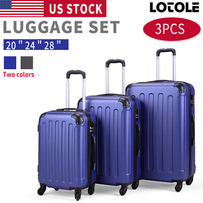 """BHC 3PCS Luggage Carry On Set Trolley Suitcase Travel Spinner ABS+PC 20"""" 24"""" 28"""""""