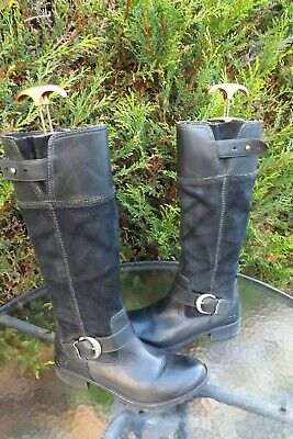 Timberland Earthkeepers Ladies Black Leather & Suede Knee High Boots Size Uk 6