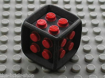 4 LEGO Dice Die Game Feature 6 Sided Rubber Frame Red Centre Studs 64776.