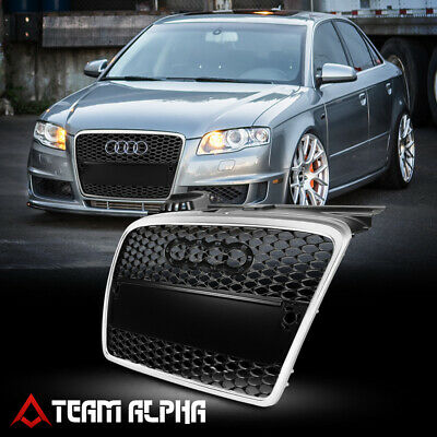 Fit 2005-2008 Audi A4/B7<HEX HONEYCOMB MESH>Black/Silver ABS Bumper Grille Grill