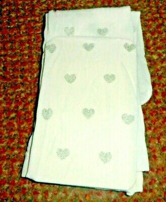 new Girls white with glittery silver hearts party Tights 5-6 YEARS - BNWOT