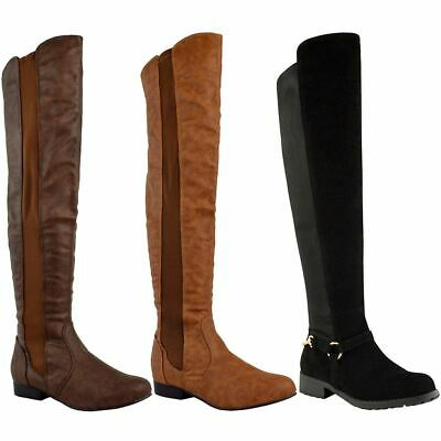 Womens Ladies Over The Knee Boots Flat Low Block Heel Pull On Thigh High Shoes