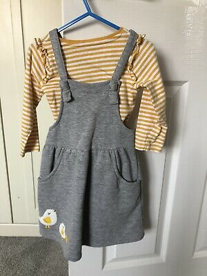 Girls Nutmeg Grey Pinafore Dress And Top 2-3 Years