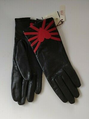 Dents Ladies Black Leather Lined Gloves Size 7