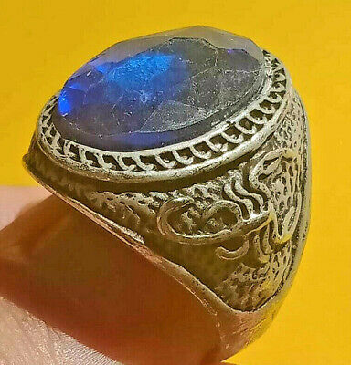Ancient ROMAN Ring With Blue Stone Silver artifact Amazing Piece.