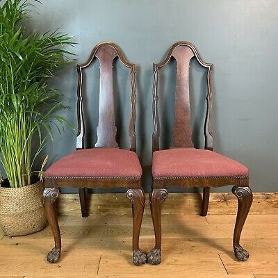 Pair 2 Antique Solid Mahogany Chairs Stools Seat Seating Dining Late Edwardian