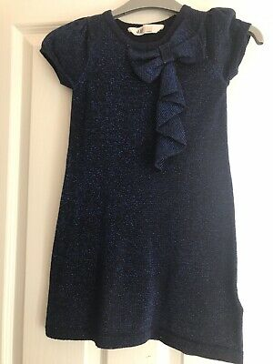 Lovely Girls Blue Black Sparkle Party Dress H&M Age 4-6 Years