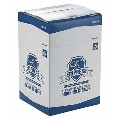 Empress Jumbo Clear Paper Wrapped Straws E211TRW (10 Boxes of 500)