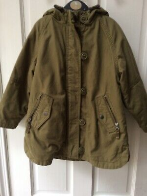 Girls Next Coat 5 Years Khaki Hooded Parka Jacket Fleece Lined
