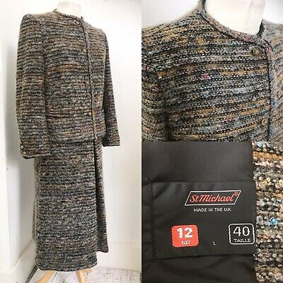 Vintage St Michael Made In Uk Wool Blend Boucle Suit Skirt Jacket 12 Costume 70s