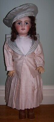 "26"" Antique French Bebe Doll By Jules Verlingue - Dressed Beautifully"