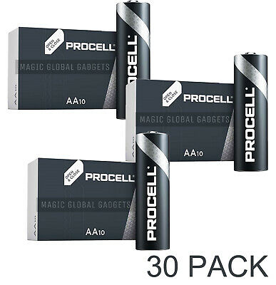30 X Duracell Procell Aa Batteries Alkaline 1.5V Lr6 Mn1500 Replaces Industrial