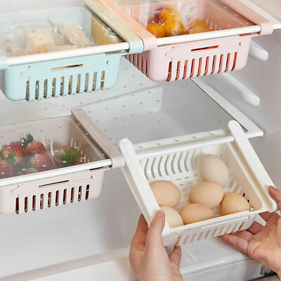 Pull-out Refrigerator Storage Box Holder Food Organizer Drawer Shelf Proper New
