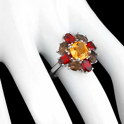 100% Natural 8Mm Citrine Garnet Smoky Quartz Sterling Silver 925 Ring Size 7
