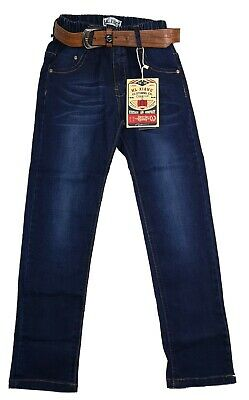 New Kids Boys Denim Jeans Elasticated Waist Children Trousers Blue Jeans
