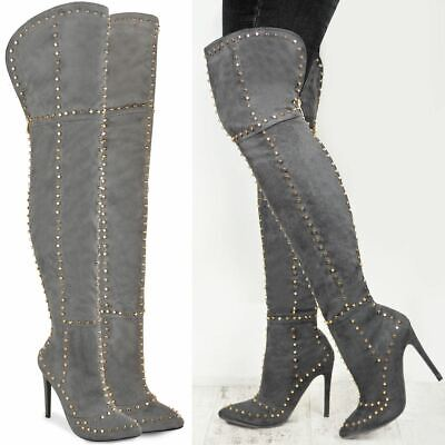 Womens Ladies Thigh High Studded Stiletto Heels Over The Knee Pointed Shoes Size