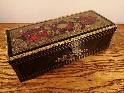 FABULOUS NAPOLEON III BOULLE GLOVE BOX & FINE LEATHER LADIES GLOVES c1865