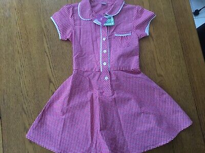 Girls red gingham summer school dress flower buttons & ties at back age 5