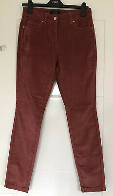 bnwt NEXT TROUSERS SKINNY UK 10 Regular DEEP DUSKY PINK SOFT TOUCH VELOUR L29""