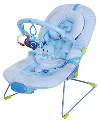 Blue Fish Vibrating / Musical Baby Bouncer Soft Bouncy Chair - UK Stock