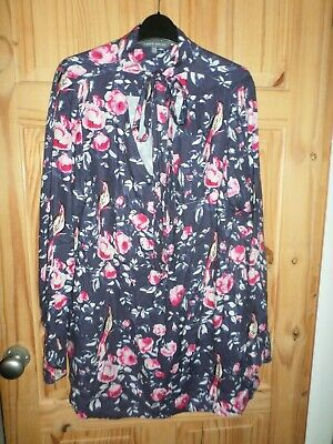 Womens Laura Ashley Birds Flowers Print Tunic Top Dress Size 14 Excellent Cond