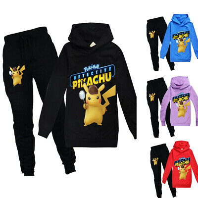 Kids Boys Girls Pikachu Trousers Suit Hoodie Jumpers Sweatshirt+Pants Xmas Gift