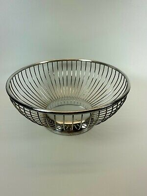 Vintage PM  Italy Silver plated Wire Fruit Basket Bowl Midcentury Modern 8 inch