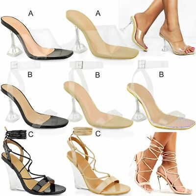 Womens Ladies Clear Glass High Heel Sandals Strappy Party Shoes Evening Size New