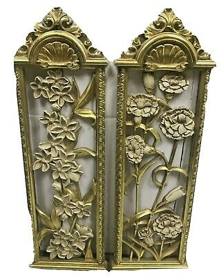 Wall Plaques Flower Cut Dart Industries Gold & White Plastic Vertical Vintage