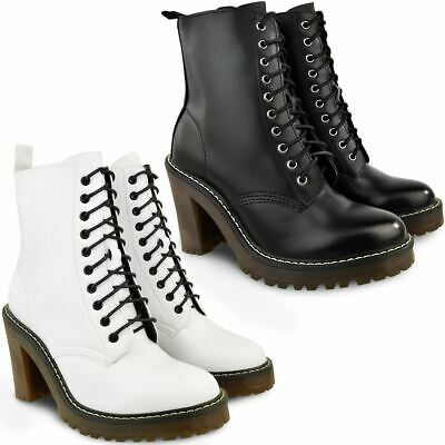 Womens Ladies Block High Heel Ankle Boots Worker Lace Up Shoes Casual Grunge New