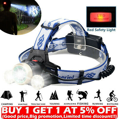 Rechargeable 900000LM 3X T6 LED Headlamp Headlight Zoom Head Torch 18650 Light