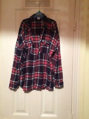 Girls River Island Top/shirt Check Navy Blue And Red Age 11-12