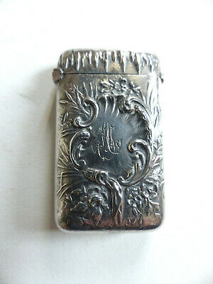 SUPERB FRENCH ANTIQUE ART NOUVEAU SOLID SILVER VESTA CASE 1890's