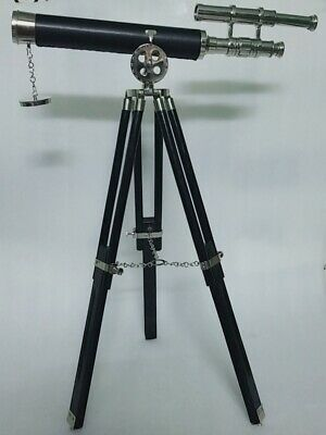 Nautical Double Barrel Brass Telescope On Wooden Tripod Marine Collectible Gift